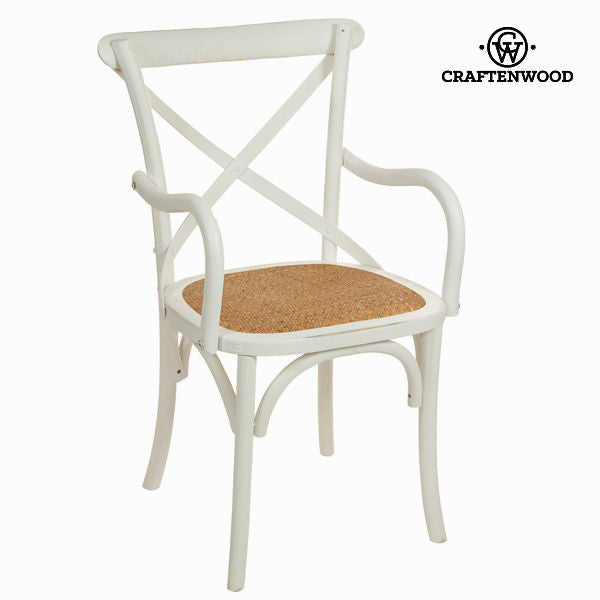 White wooden chair with wooden arms by Craften Wood