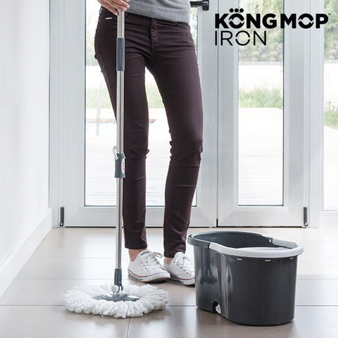 Kong Mop Iron Roterende Gulvmoppe med Spand