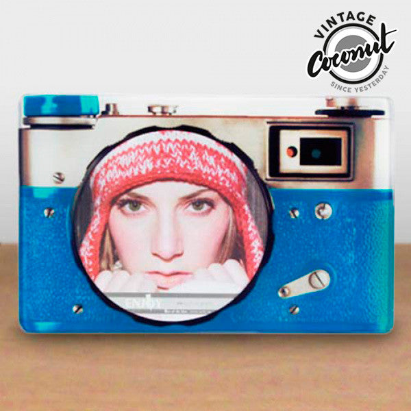 Vintage Coconut Camera Glass Photo Frame