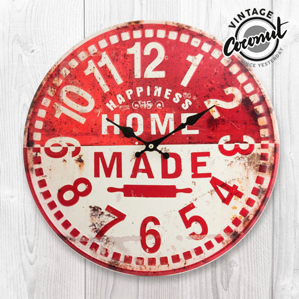Vintage Coconut Home Made Wall Clock