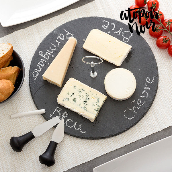 Circular Slate Cheese Board with Accessories Atopoir Noir