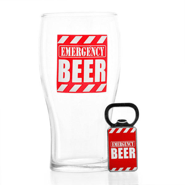 Emergency Beer Glass with Bottle Opener