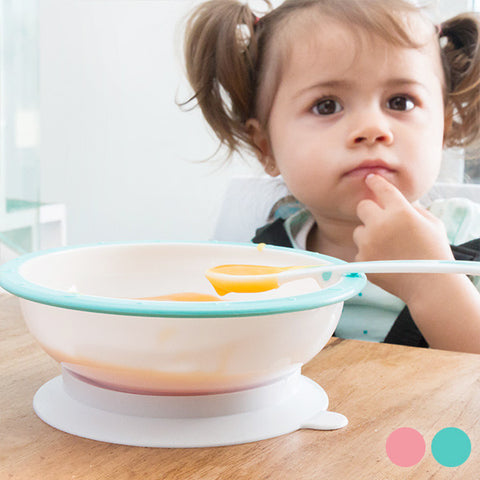 Bowl with Anti-Roll Suction Pad and Spoon for Babies