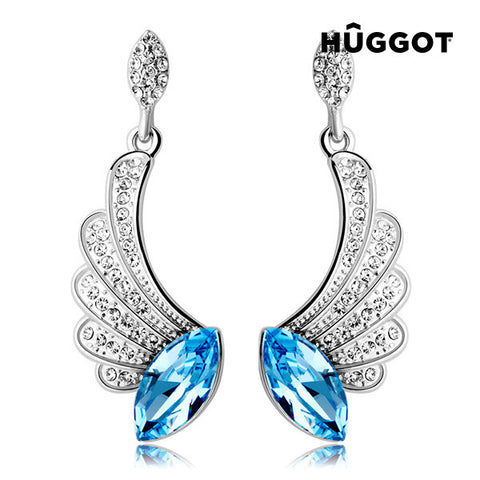 Hûggot Angel Rhodium-Plated Earrings with Zircons Created with Swarovski®Crystals