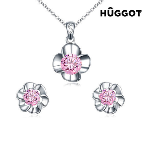 Hûggot Pink Flower Rhodium-Plated Set: Pendant and Earrings with Zircons (45 cm)