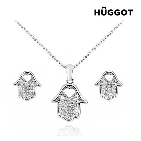 Hûggot House Rhodium-Plated Set: Pendant and Earrings with Zircons (45 cm)