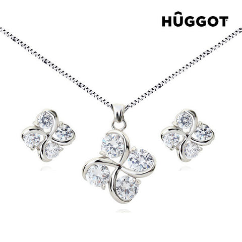 Hûggot Clover Rhodium-Plated Set: Pendant and Earrings with Zircons (45 cm)