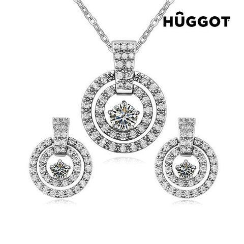 Hûggot Labyrinth Rhodium-Plated Set: Pendant and Earrings with Zircons (45 cm)