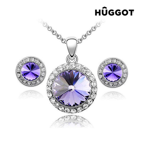Hûggot Mirror Rhodium-Plated Set: Pendant and Earrings with Zircons (45 cm)
