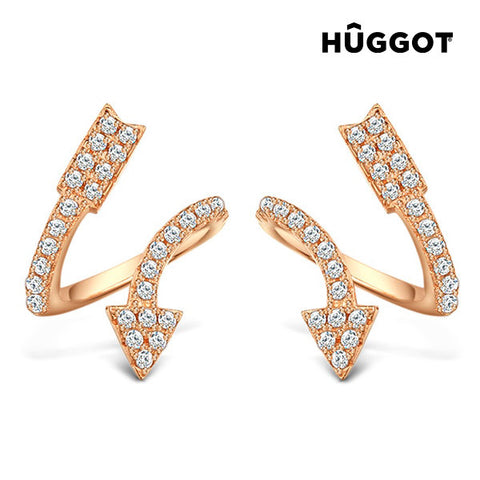 Hûggot Arrow 18 K Rose Gold-Plated 925 Sterling Silver Earrings Pink with Zircons