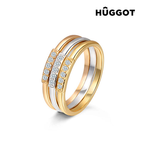 Hûggot 18 kt Gold-Plated Triple Individual Ring