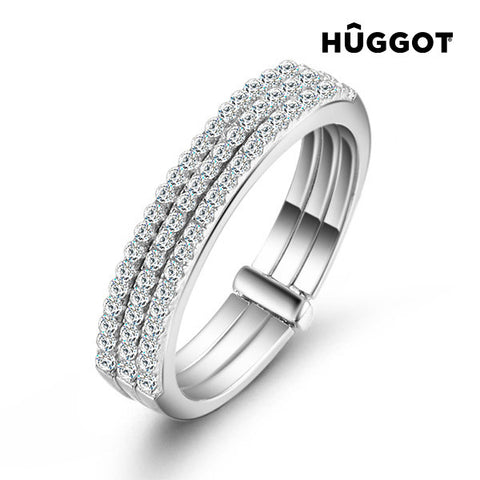 Hûggot Three 925 Sterling Silver Ring with Zircons
