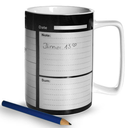 China Mug with Weekly Calendar + Pencil