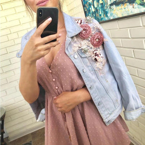 Flowers Pearl Embroidered Denim Jacket