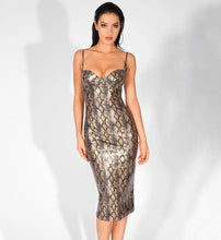 Load image into Gallery viewer, Snake Print Bodycon Dress