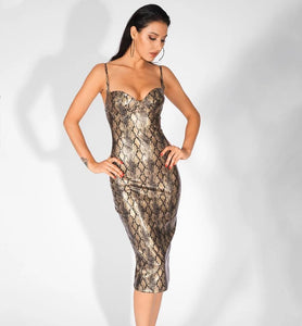 Snake Print Bodycon Dress