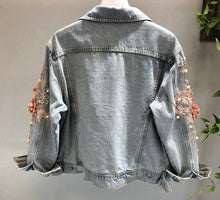 Load image into Gallery viewer, Embroidered flower washed denim jacket light blue