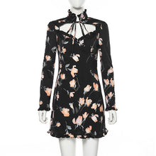 Load image into Gallery viewer, Floral Black Mini Dress