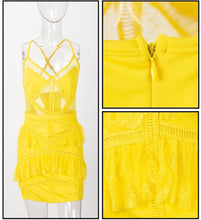 Load image into Gallery viewer, Yellow Ruffled Lace Dress