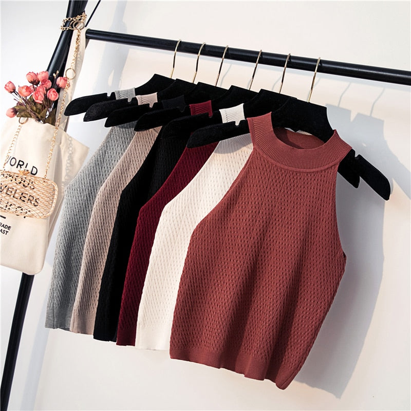 Womens Knit Crop Top
