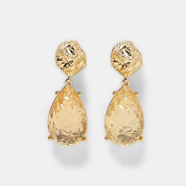 Gold Metal Drop Earrings