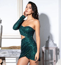 Load image into Gallery viewer, Green Sequin Cocktail Dress