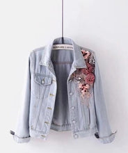 Load image into Gallery viewer, Flowers Pearl Embroidered Denim Jacket