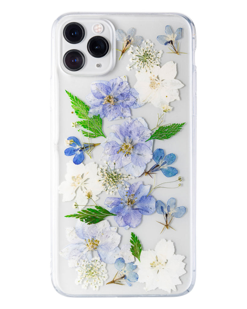 Dusty Blue Nalana Cases iPhone 11 Pro Max real pressed flower case tpu gedroogde bloemen telefoonhoesje