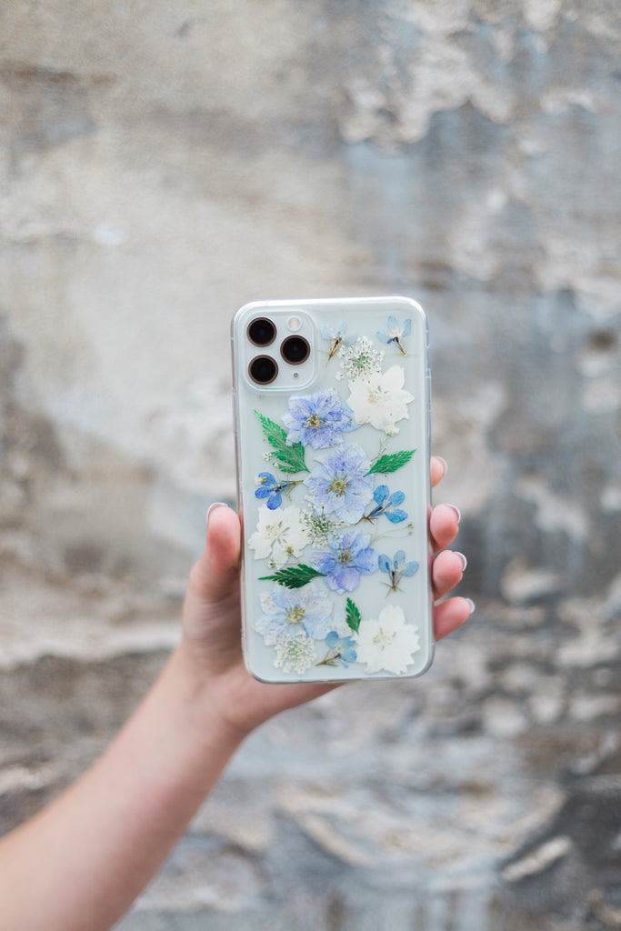 Dusty Blue Nalana Cases iPhone hoesje echte bloemen droogbloemen tpu pressed flowers case iPhone Samsung
