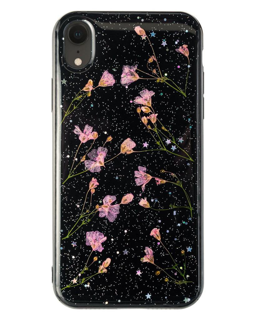 Night Sky Wonder Nalana Cases iPhone XR real pressed flower case tpu gedroogde bloemen telefoonhoesje