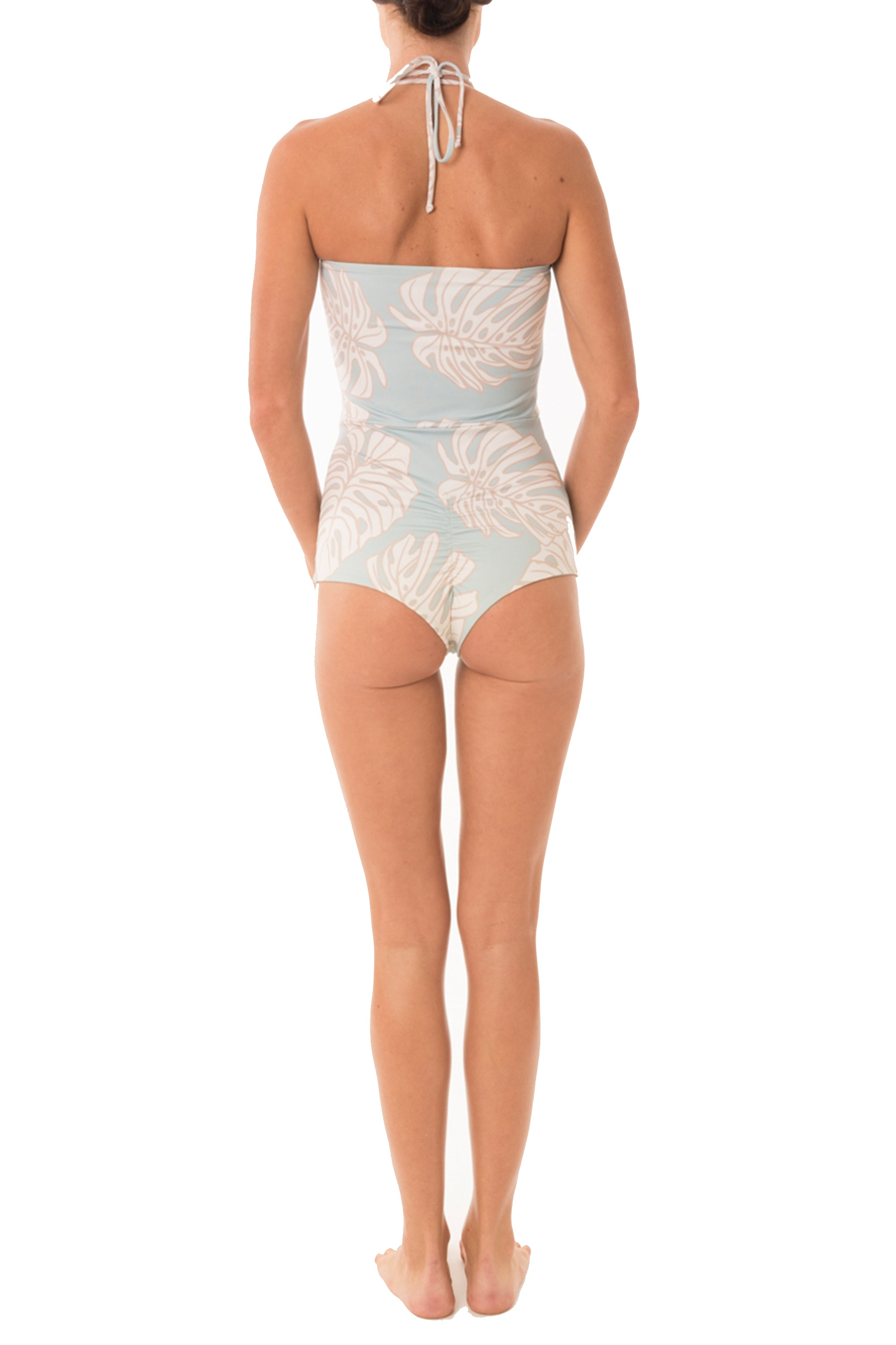 Retro-Cheek One Piece in Aqua Leaf (1 Left)