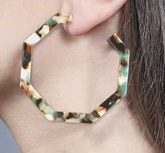 Mint Tortoise Shell Octagon Hoops