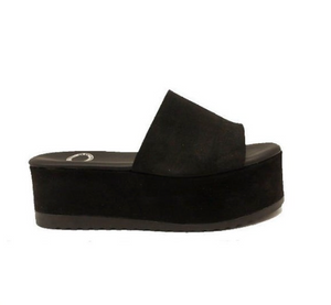 Leather Platform Slide