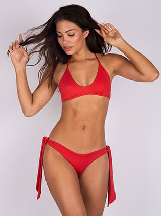 Skimpi Scoop Halter Top in Red
