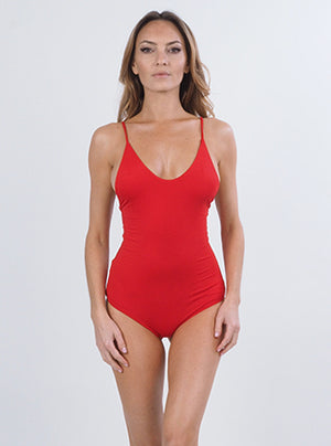 Strappy Scoop Tank in Red