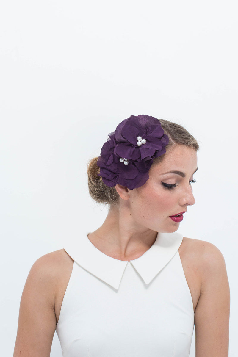Silk Rosettes in Dark Purple