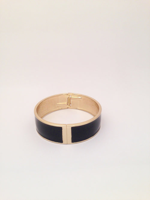 Wide Enamel Bangle in Black
