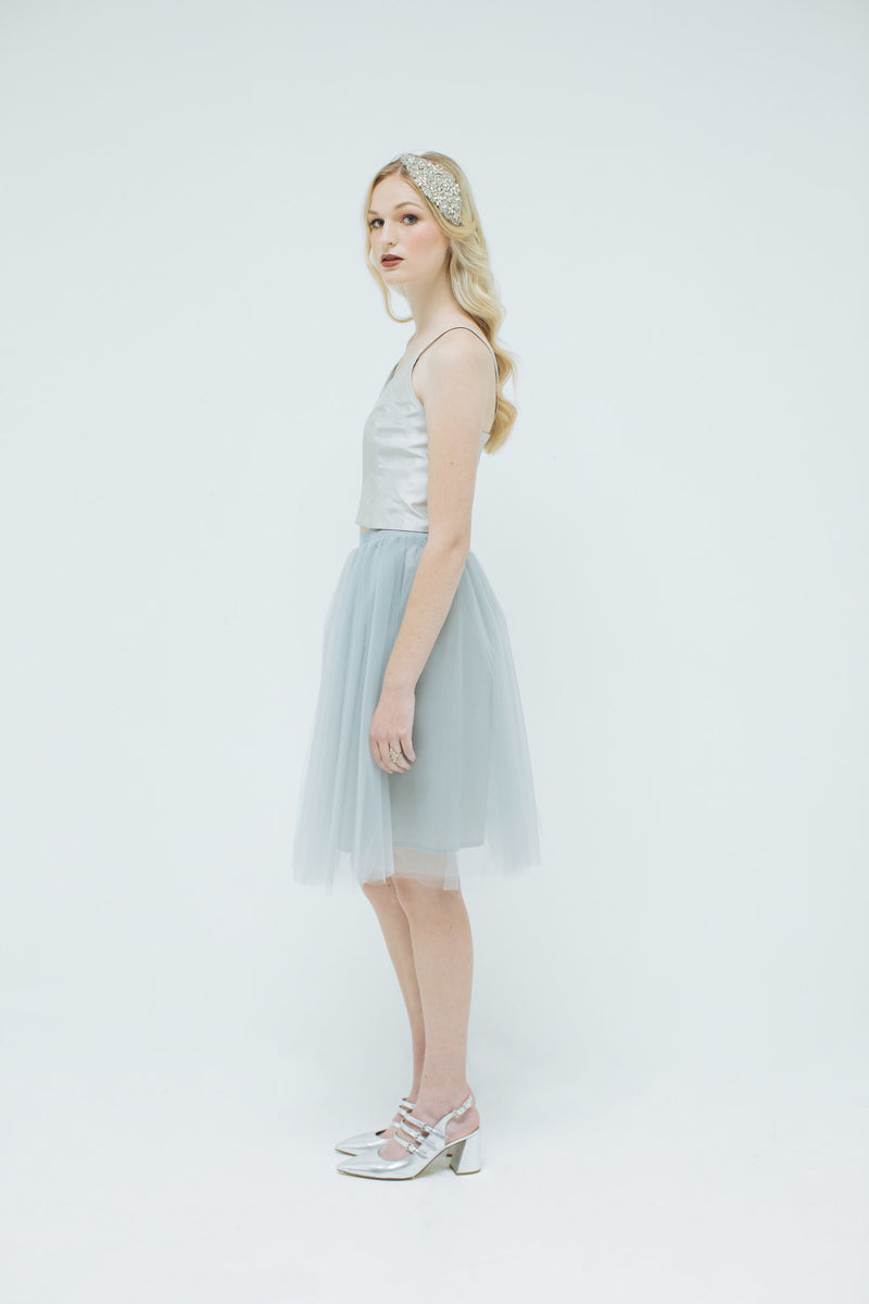 Sylvie Tulle Skirt in Dove Grey