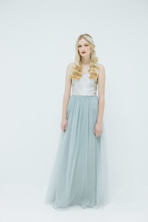 Sylvie Tulle Skirt in Dove Grey (Long)