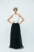 Sylvie Long Tulle Skirt in Black