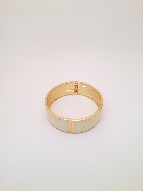 Wide Enamel Bangle in Vanilla