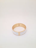 Wide Enamel Bangle in White