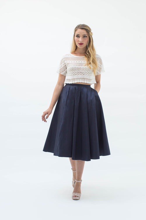 Demi-Opera Skirt in Navy