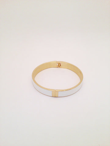 Slim Enamel Bangle in White