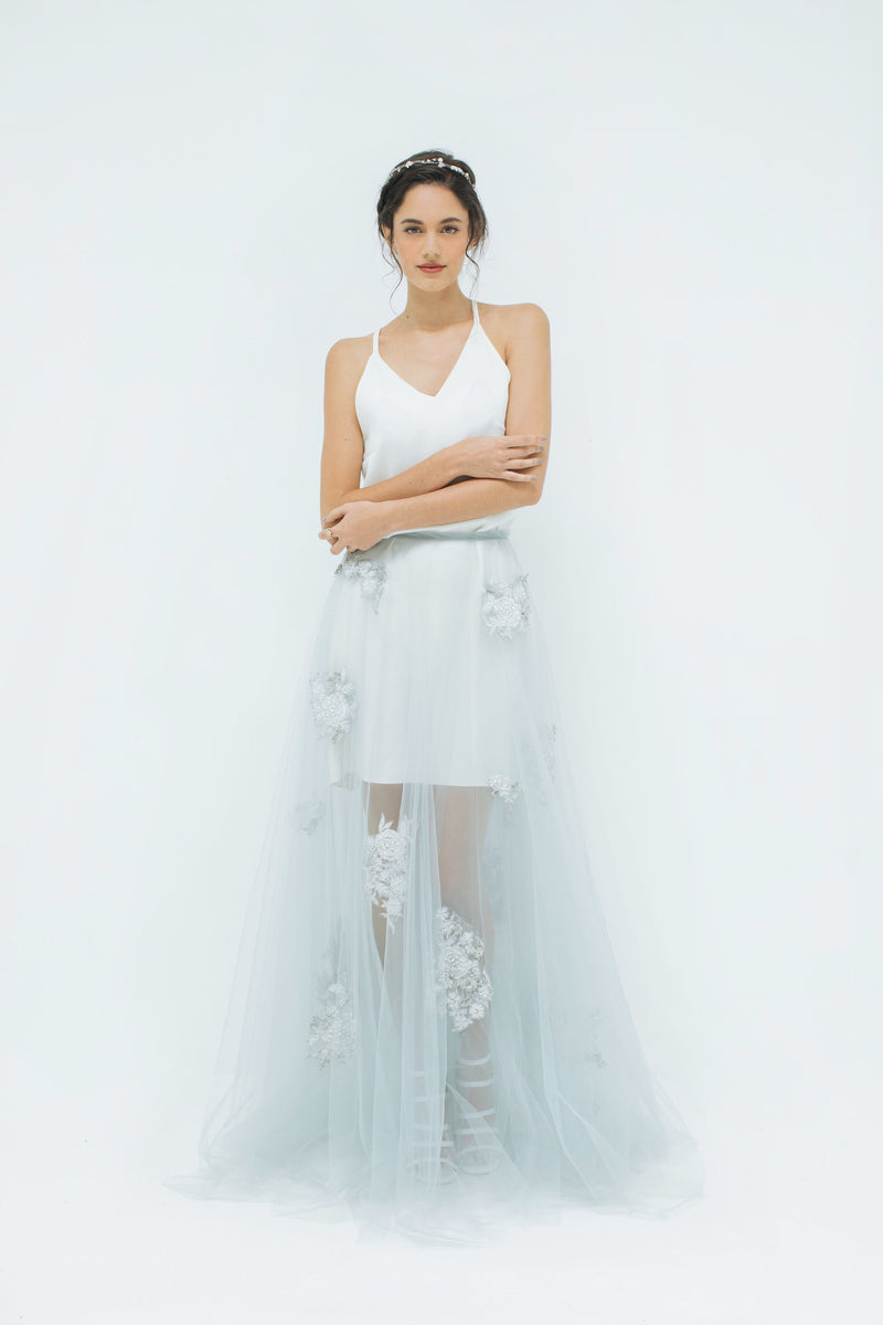 Falling Roses Tulle and Lace skirt in Dove Grey