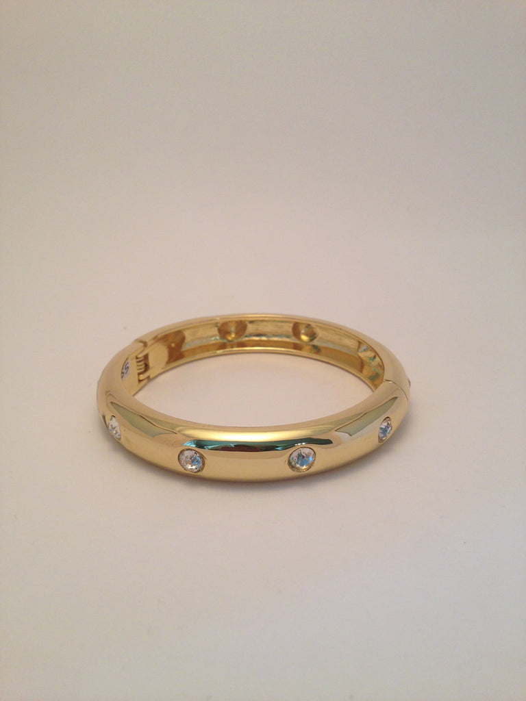 Crystal Hoop Bangle in Gold