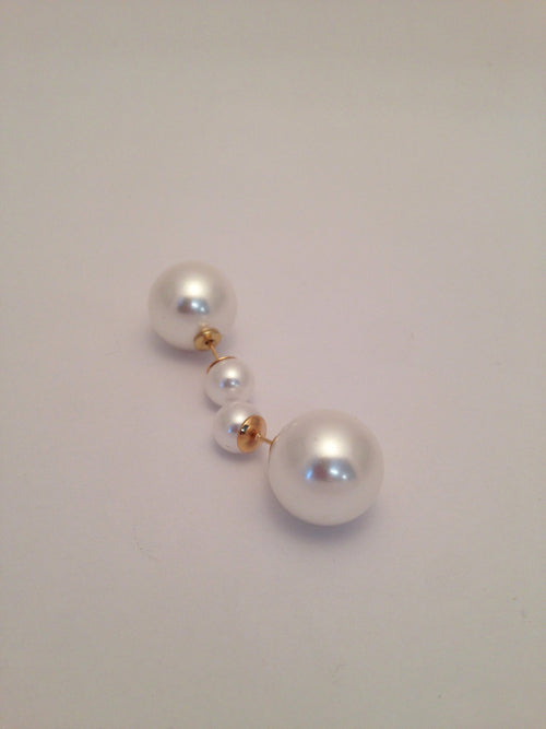 White Double Pearl Earrings