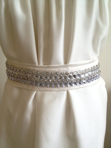 Belt/Sash: Vanilla silk satin modern contemporary beading