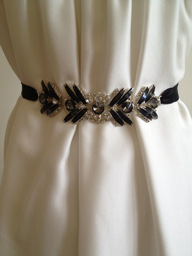 Belt/Sash: Art Deco inspired in black