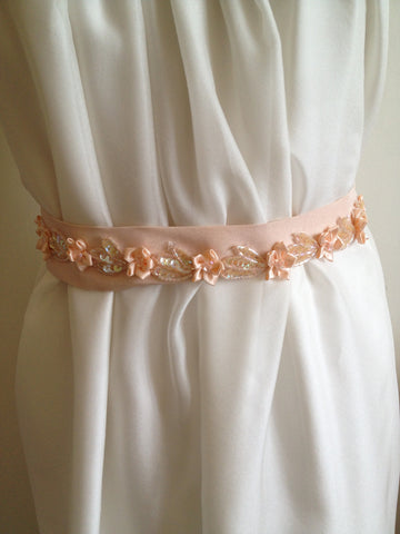Belt/Sash: Pretty Floral in apricot silk